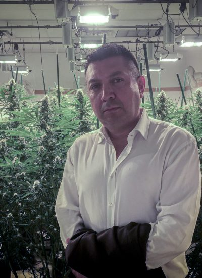 Demitri Downing at an indoor grow in Arizona.
